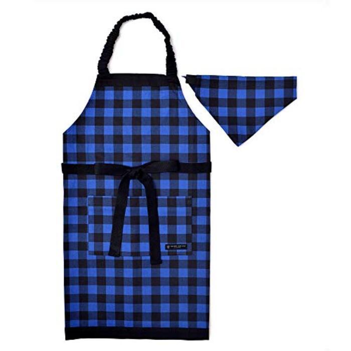 エプロン130-160 三角巾付き バッファローチェック・ブルー N1231330