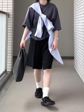黒のTシャツとショートパンツを合わせたシンプルな夏コーデにも、デザイン性が高いユニークサンダルなら自分らしい個性をプラスできますね。