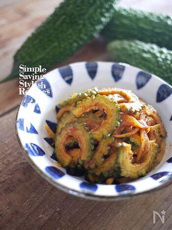 アチャールは、インドカレーによく添えられるスパイシーな野菜の漬物(ピクルス)。いろんな野菜で作れるので、その分、バリエーションが広がります。こちらは夏野菜のゴーヤを使って。1週間程度もつので、箸休め用にストックしておいてもいいですね。