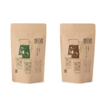 宮崎県五ヶ瀬町の茶葉を使用した水出し煎茶と、茎茶を強火で香ばしく焙煎したほうじ茶です。水にティーバッグを1包入れて、冷蔵庫で置いたら完成です。パッケージのイラストもおしゃれで、20包入りなのでコスパも◎