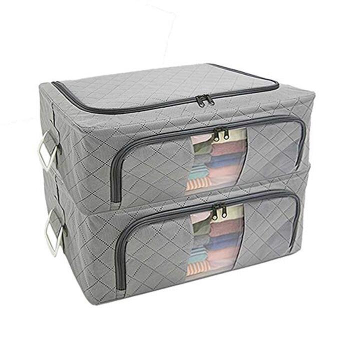 アストロ 衣装ケース グレー 約48x36x20cm 2個組 ワイヤー入り 活性炭消臭 不織布 積み重ねできる 620-19