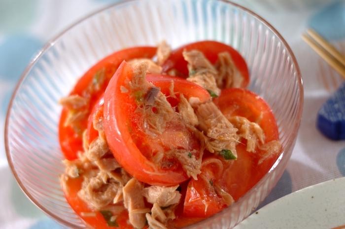 ポン酢を使えばよりさっぱりした味わいに。ドレッシングを作る必要もないので簡単です。  ポン酢・ごま油・ツナをトマトに和えるだけ。もう一品欲しいと思ったらすぐに作れるので、トマトレシピに加えてみてはいかがでしょう。