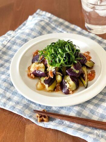 生姜と大葉梅肉の相性抜群、蒸しナスの梅じそ和え。味付けもめんつゆを使うので、一発で味が決まります。  しゃぶしゃぶしたお肉をのせたら立派な主菜になりますよ。ナスを揚げないのでヘルシーでローカロリーな一皿。