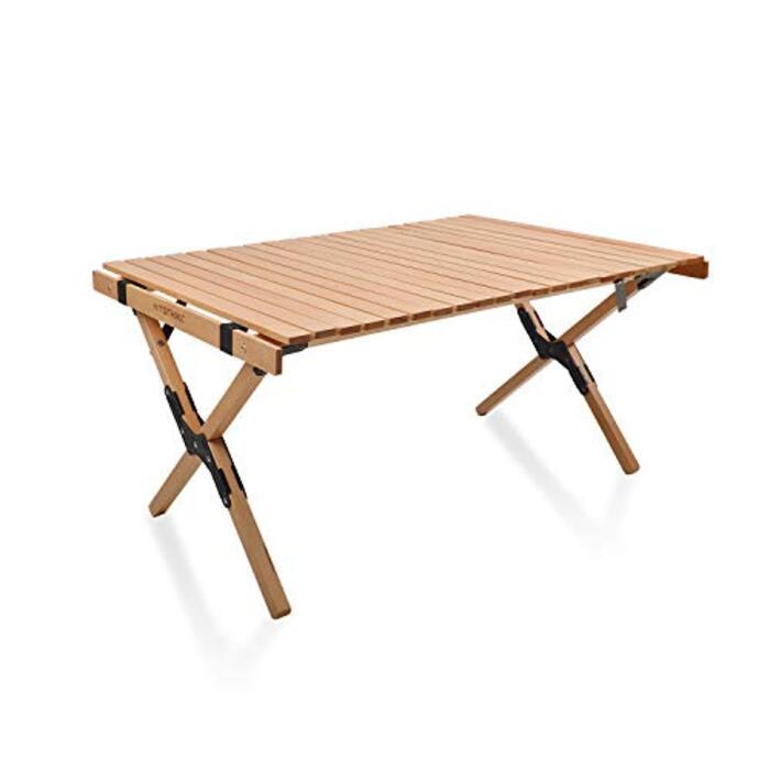 HITORHIKE 折りたたみテーブル 天然木 組み立て簡単 コンパクト 収納バッグ付