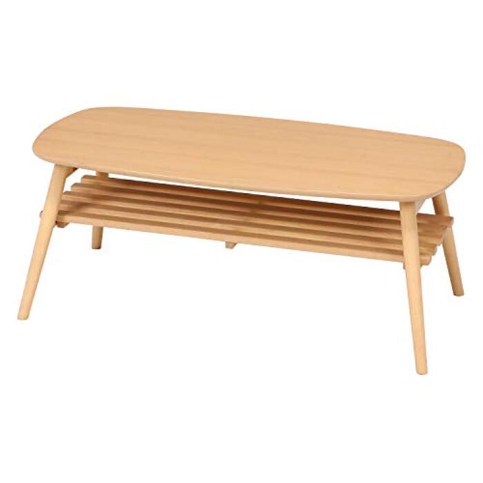 不二貿易 折りたたみローテーブル 幅100cm 棚付き ナチュラル
