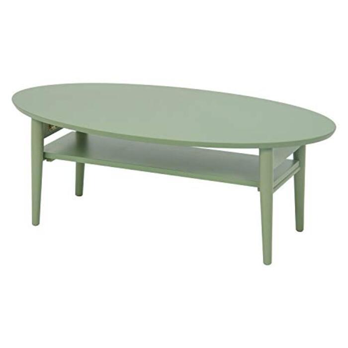 萩原 折りたたみテーブル 棚付き 【完成品】 モスグリーン