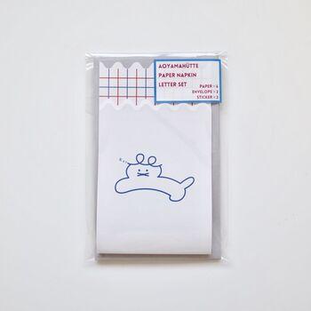 一点物のアクセサリーやセンスある雑貨を扱う「あお山ヒュッテ 」の「ペーパーナプキン レターセット」。