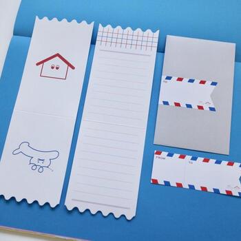 実際に使われているショップカードと同じ形のレターセットは、ペーパーナプキン型のペーパー×6枚、封筒×3枚に、オリジナルステッカー×3枚のセットとなっており、遊び心あふれる手紙を送ることができます。