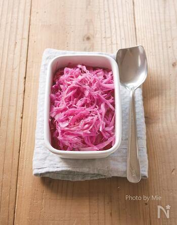 鮮やかな色の紫キャベツを使った酢の物は、食卓やお弁当の彩りにぴったり。常備菜として冷蔵庫にあると頼もしい一品です。和食にも洋食にも合わせやすいので、毎日活躍すること間違いなし!