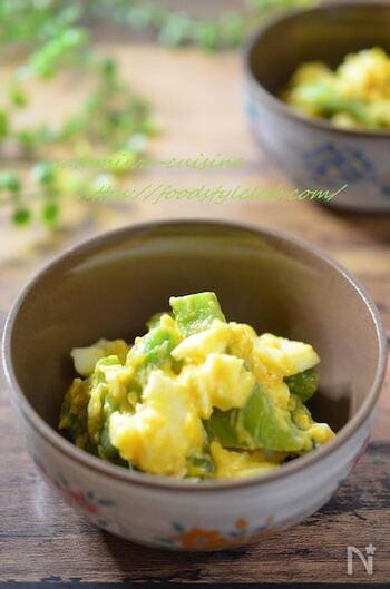 西京味噌とめんつゆで作る和風タルタルソースと。小料理屋さんに出てきそうな和え物が新鮮。モロッコいんげんの歯触りと甘みが引き立つ美味しさです。