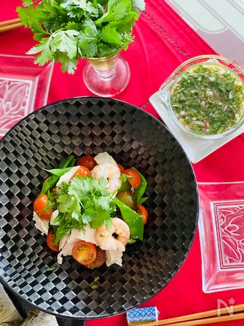 モロッコいんげん、トマトなどの夏野菜と鶏むね肉に海老。具沢山でカラフルなサラダにパクチードレッシング。ビジュアルも美しく食欲そそるメニュー。蒸し暑さも吹き飛ばしてくれそうですね。