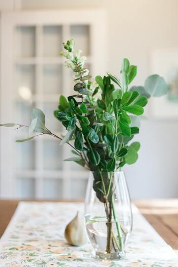 ユーカリをそのまま束ねて、ガラスの花器に飾っても素敵です。
