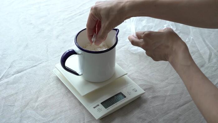 鍋にソイワックスを150g量ります。