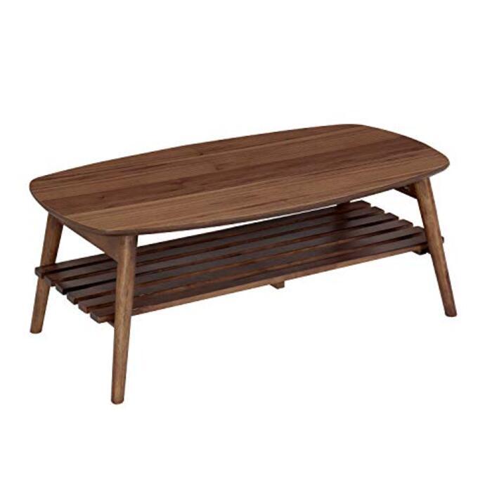 快適ホームズ 折りたたみテーブル ノチェロ 幅90cm 棚付き ミディアムブラウン