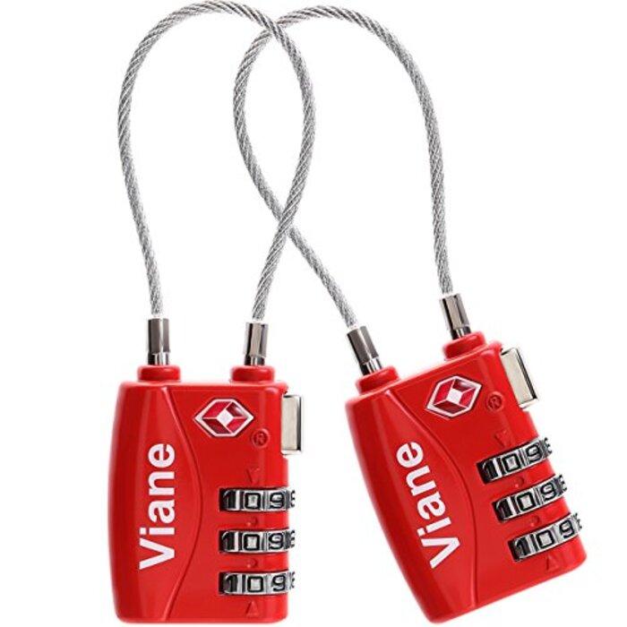 TSA ロック ワイヤー タイプ レッド 2個 セット 旅行用 3桁ダイヤル式ロック Viane