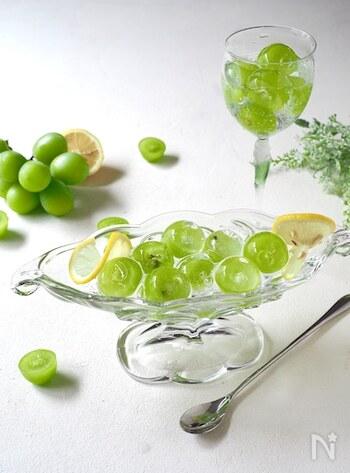 ガラスの中に閉じ込められたようなシャインマスカットがとてもきれいなクーロンキュウ。盛り付けの仕上げには、みずみずしい果汁と相性抜群のサイダーがおすすめです。
