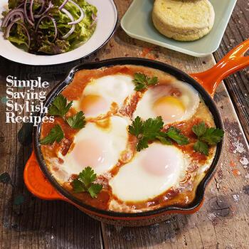 こちらのレシピのようにひき肉を使うのもいいですね。スキレットやフライパンひとつでできて、栄養バランスもよく、日本の朝食にもぴったり。できたてアツアツを食卓にサーブでき、洗い物も少なくて済みます。