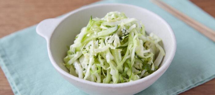 キャベツ、きゅうり、大葉を刻んでさっぱりとした副菜に。ちょっとずつ余ってしまいがちな野菜も、こうして塩もみすることで簡単に彩りキレイな「もう一品ほしい!」が叶います。