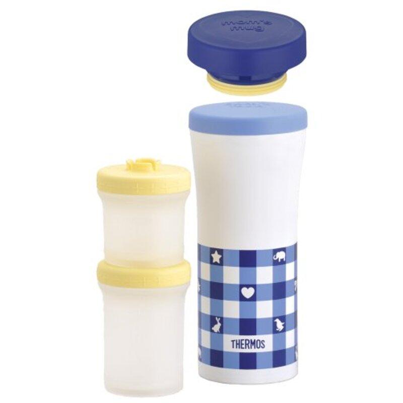 サーモス 保冷離乳食ケース&ケータイマグ 360ml ブルーチェック