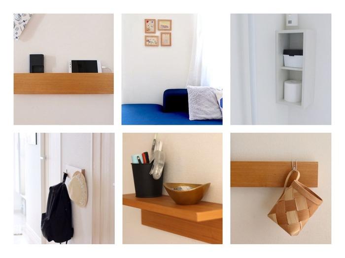 無印良品の壁につけられる家具シリーズは、収納不足のお家の味方。お部屋のスペースを圧迫せずに日常で使うアイテムの定位置を作れるので、お部屋が散らかることを防止することができます。壁穴も目立たせずに、簡単に設置できるところも魅力です。