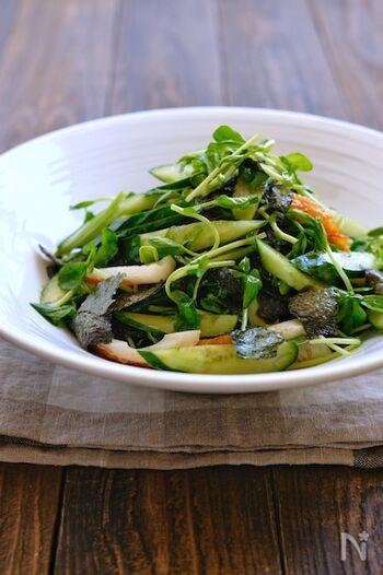 ちくわときゅうりに、豆苗と海苔を組み合わせたサラダです。どちらも手軽に手に入るのが良いですね。こちらのドレッシングも、ごま油や鶏がらスープの素を使った中華風の味わい。お箸がどんどん進む、ご飯のお供にぴったりのレシピです♪