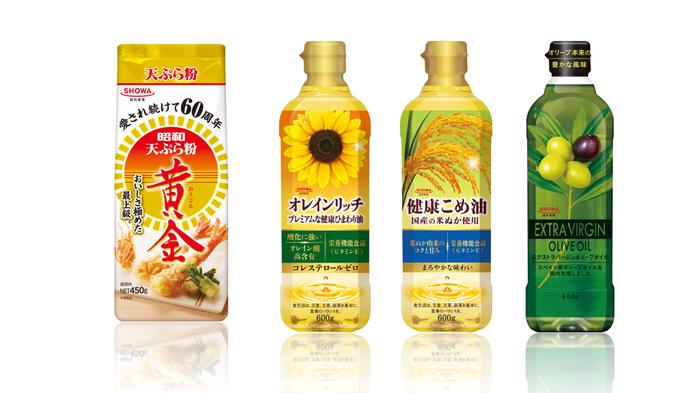 *画像上(左から)  ■『天ぷら粉黄金』 …パンプキンパウダー入りで黄金色。サクッと納得の天ぷらに仕上がる天ぷら粉。 ■『オレインリッチ』 …コレステロールゼロ!ビタミンEやオレイン酸(オメガ9)をたっぷり含む健康ひまわり油。 ■『健康こめ油』 国内で発生した米ぬかを使用した、国内製造によるこめ油。ビタミンEを豊富に含んでおり、まろやかな甘み。揚げ物はもちろん、炒め物やドレッシングにも合います。 ■『エクストラバージンオリーブオイル』 新鮮なオリーブ果実を使用。コールドプレス(低温圧搾)製法によってつくられたエクストラバージンオリーブオイルです。
