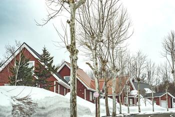 またもや北海道の当別町、スウェーデンヒルズ。 北欧風の家々が立ち並んでいます。薄曇りの空が街並みをより情感的に見せている一枚です。