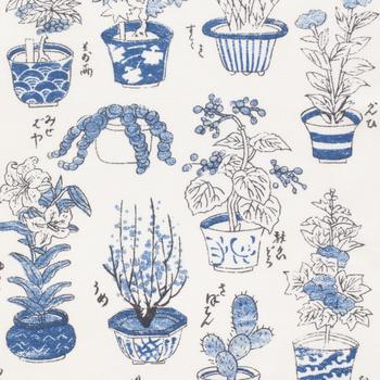 まるで植物図鑑!江戸~明治時代にかけて描かれたとされる浮世絵版画「樹木づくし」を模した手拭いです。この「樹木づくし」は、当時、子どもが植物の名前を覚えたりするのに、もってこいの絵だったそう。  梅やさぼてん、もみじなど、今も親しんでいる植物の絵がずらり。常に携帯すれば、会話のタネにもなりそうです。