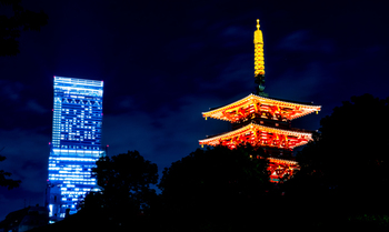 タイミングによっては四天王寺がライトアップされており、遠くに日本一高いビル「あべのハルカス」が見えることも。お寺と高層ビルを一望できる景色は、過ぎ去った歴史の長さを感じさせてくれ、少し不思議な感覚を楽しむことができます。