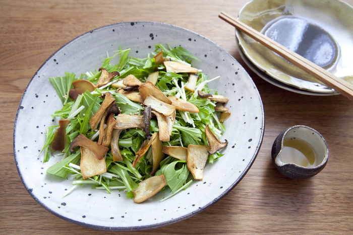 オーブンでカリカリに焼いたエリンギと、シャキシャキの水菜をごま油レモンドレッシングで。コクがあり、香り良いサラダは野菜をたっぷりいただけてヘルシーです。