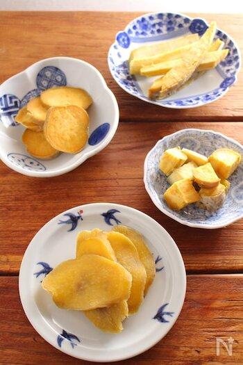 甘い安納芋は、干し芋にするのもおすすめ。強すぎない蒸気でじっくり蒸して、甘さを引き出すのがポイント。干しかごなどで3~5日程度日中に干せばできあがりです。