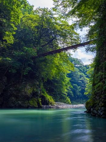 日原川から多摩川に沿って歩く「氷川渓谷遊歩道」は、トータル40~50分の手頃な散策路です。遊歩道の途中には2つの吊り橋がかかり、ゆったりとした川の流れを見ることができますよ。