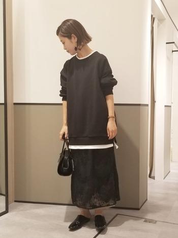 重量感のある黒のスウェットに透け感のあるワンピースを合わせることで、ワントーンでも涼しげな印象に。重ね着風のトップスは裾や首元でちらっと白が映え、コーデにメリハリが出るおすすめアイテムです。