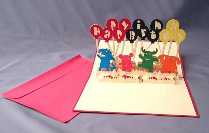 小さなお子さんが喜びそうな動物デザインのポップアップカード。こんな賑やかなバースデーカードが届いたら、わくわくですね♪