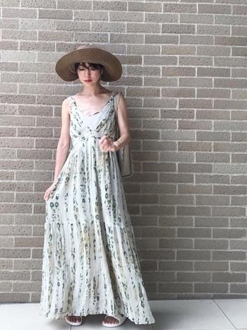 サマードレスとは夏にぴったりなデザインのワンピースのこと。ゆったりとした生地感で作られているので暑い季節でも着心地がよく、花柄やトロピカルな柄などリゾートに似合うデザインが豊富です。