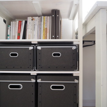 深型のボックスは、ラックとの相性◎放り込むだけのざっくり収納にも向いています。黒はインテリアを引き締めてくれますね。