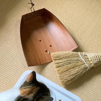 ペットを飼っているおうちにも便利。カリカリフードをこぼしてしまった後や、砂タイプのトイレを使っている場合、こぼれた砂や餌をさっと始末できて便利です。また抜け替わりの時期に固まって床に落ちているペットの毛もほうきとちりとりでサッと片付けることができます。