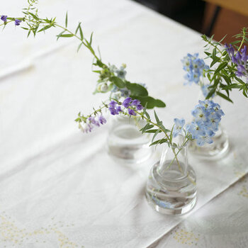 フォルムは個性的ですが、ガラスの透明感がほどよくバランスをとってくれます。デザイン性・安定性ともに、生けるお花を選びません。