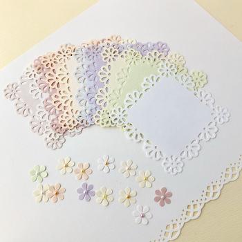 カードの周りをクラフトパンチでくり抜いてレースペーパー風にアレンジしています。くり抜いたお花もワンポイントに貼り付ければ、ナチュラルで可愛いく仕上がりますよ。