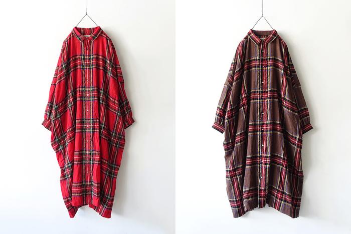贅沢にタータン地を使用した、身幅たっぷりなシャツワンピース。一枚ではもちろん、羽織としても使える万能アイテムです。ボリュームのあるシルエットに小ぶりな襟がポイント。