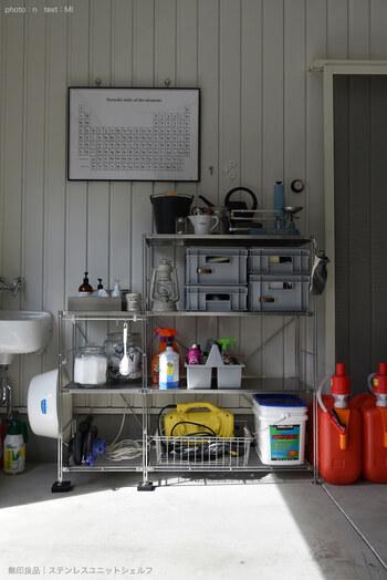 半屋内であるガレージの収納は、汚れたものを入れることもしばしば。そんな時もワイヤーバスケットは重宝します。多少重たいものを入れても平気ですし、そのまま棚に置くだけよりも、バスケットに入れることで整然とします。