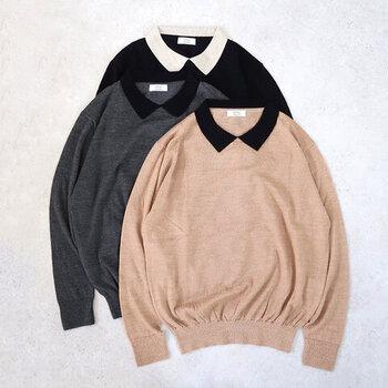 ベーシックなニットトップスに、ちょこんとキュートな襟が付いたアイテム。配色を変えた襟がコーデのアクセントになり、シンプルなデニムパンツ・スカートにも合わせやすい一着に仕上がっています。カラーはキャメル・グレー・ブラックの3色展開です。