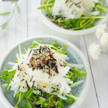 刻んだ水菜やカイワレ大根の上に千切りの大根を乗せて、お茶漬けの素とごま油をかけるだけ。 驚くほど簡単!シンプルでおしゃれな箸休めの完成です。