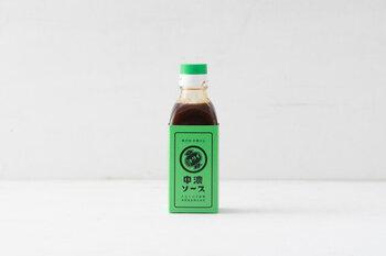 原材料の野菜はすべて国産を使用したトリイの中濃ソース。ウスターソースをベースに長野県産のりんごを加えた、フルーティーな甘みと香りが特徴。