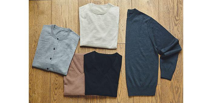 繊維が細く柔らかなメリノウールにシルクを加えた人気ニットシリーズ。シルクが入っているので光沢感となめらかさが特長で、さらっとした肌触りも抜群です。家庭用洗濯機で手軽に洗えるので、気兼ねなく着られるのが嬉しいポイント。程よく薄手で、今の時季にぴったりなアイテムです。