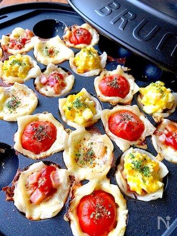 ポップな鮮やかに楽しめるミニミニ野菜パイ。冷凍パイシートを小さくカットして、たこ焼き穴に敷いて好きな具材を詰めて焼くだけの簡単調理。パーティーシーンにも活躍します。