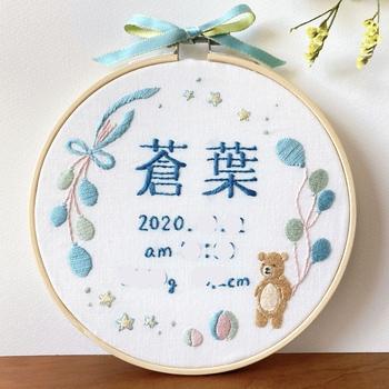 *画像/名前の手刺繍「蒼葉」(ayacoz さん)