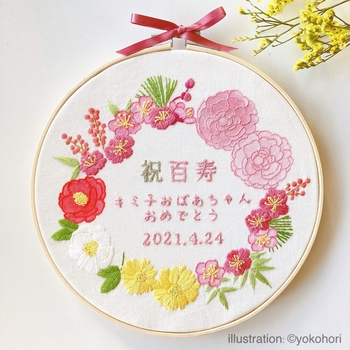 *画像/手刺繍「祝百寿 おめでとう」(ayacoz さん)